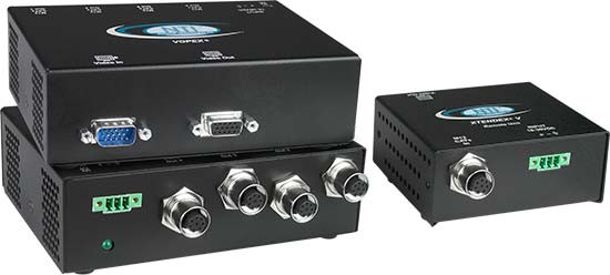 VOPEX-M12V-4 Local Unit (Front & Back) and ST-M12V-R-600 Remote Unit
