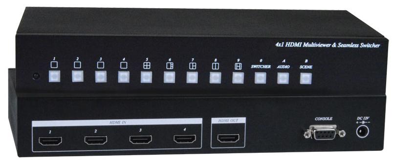 HDMI Quad Screen Splitter Multiviewer 1080p Switch PiP Display